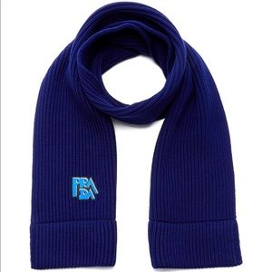 Prada Blue Logo- embroidered Wool Scarf